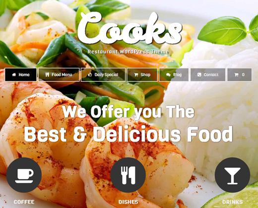 cooks restaurant wordpress theme design