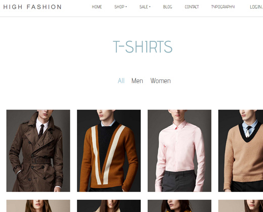 high fashion parallax shopify theme design