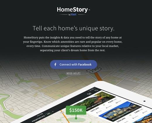 homestory landing page design