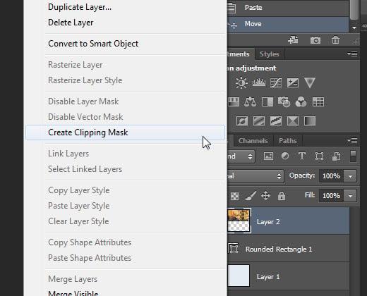 create clipping mask context menu