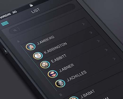 dark flat ios7 list users contacts