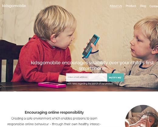 kids go mobile app landing page
