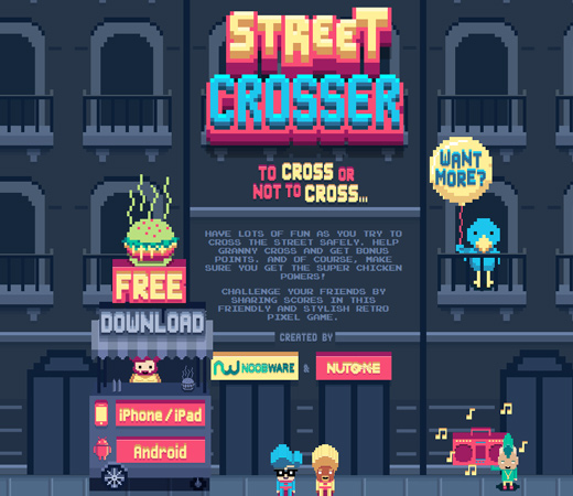 retro street crosser pixel video game page