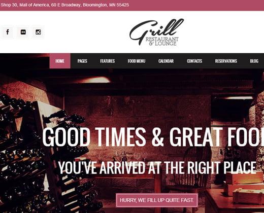 parallax restaurant grill wordpress theme