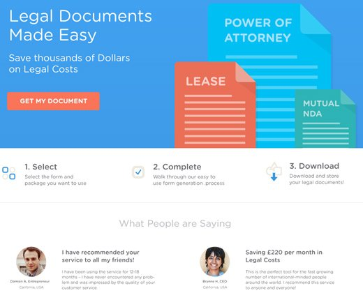 legal documents landing page website