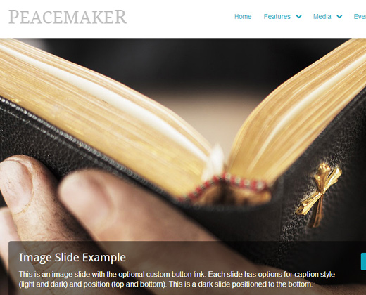 peace peaceful premium church theme wordpress