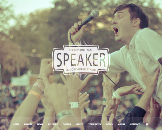 speaker one page music wordpress theme