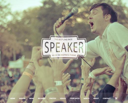 speaker one page music wordpress theme