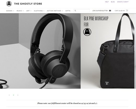 the ghostly store website homepage shopify