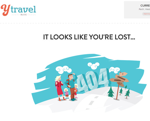 y travel blog website 404 error page