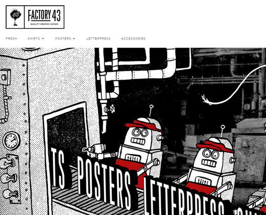 factory 43 website layout homepage