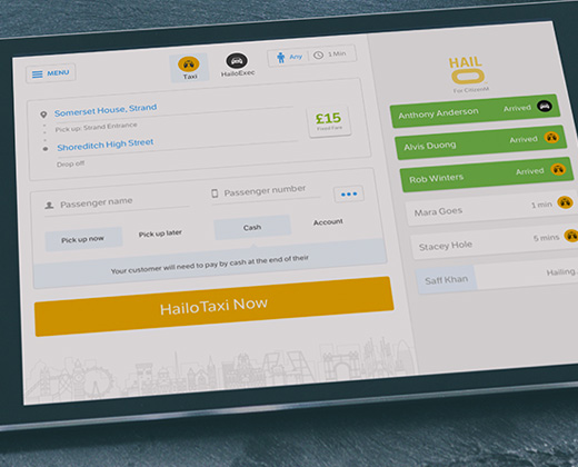 hailo hub ipad ui design