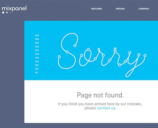 mixpanel homepage 404 design layout