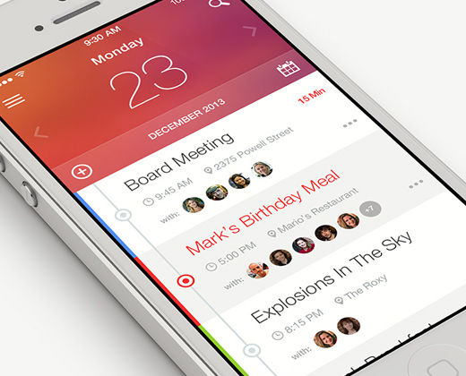 flat user interface iphone app planner