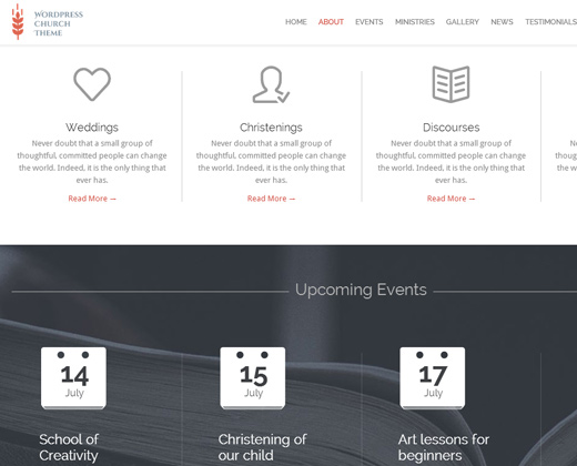 church and events responsive wordpress theme