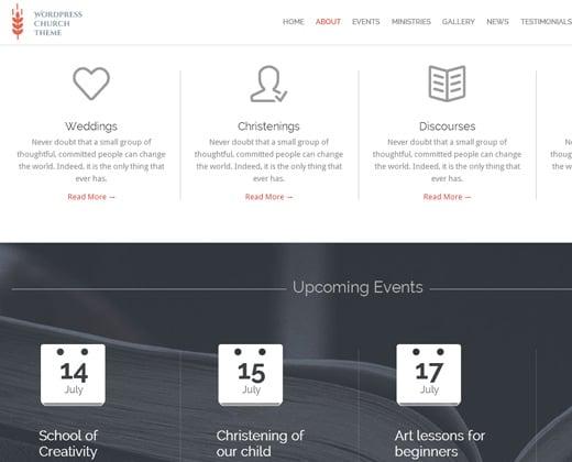 church and events responsive wordpress theme