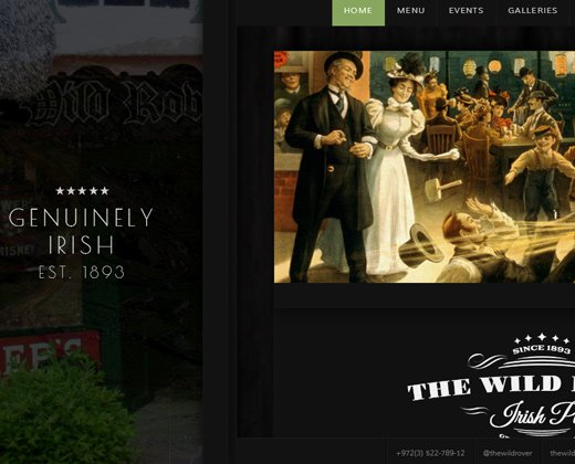 wild rover irish pub wordpress theme