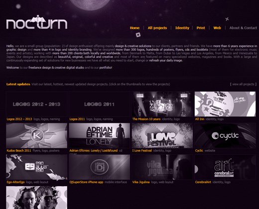 nocturn website dark portfolio layout