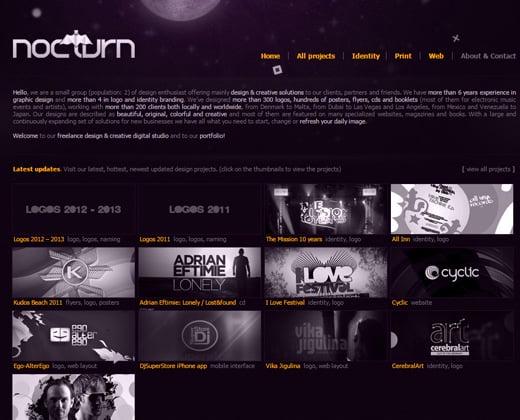 nocturn website dark portfolio layout