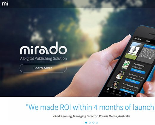 mirado landing page website design