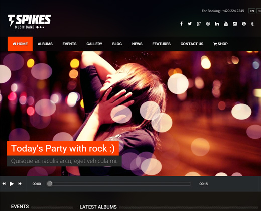 spikes music band wordpress theme