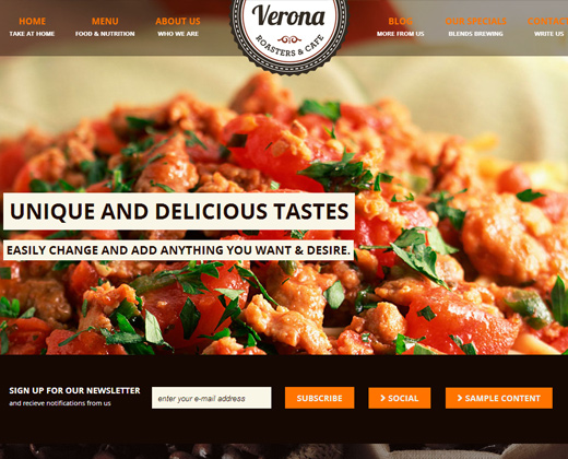 verona restaurant cafe responsive wp theme