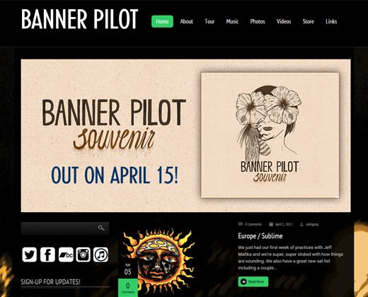 banner pilot website design