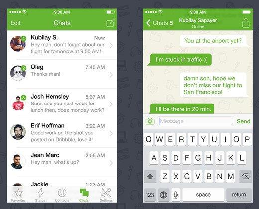 ios 7 whatsapp flat iphone ui