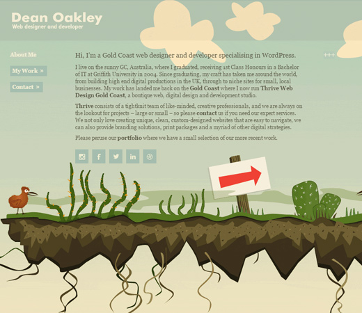 dean oakley website design homepage