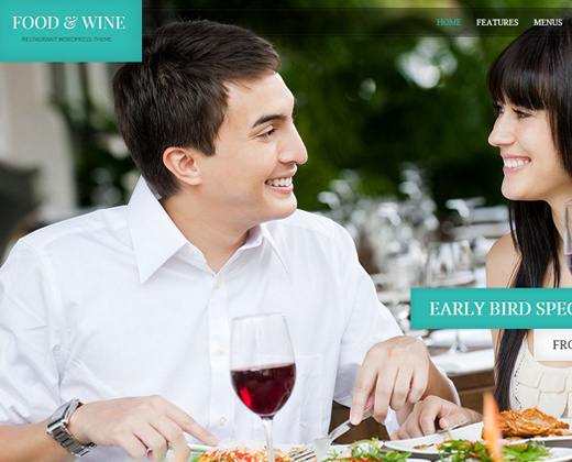 food and wine responsive wordpress theme