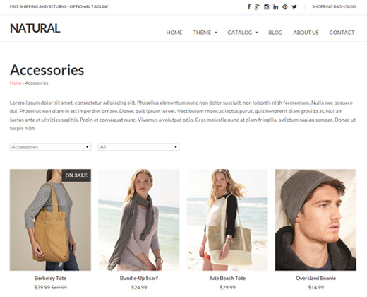 natural white responsive shopify premium theme