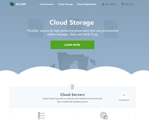 cloud storage webapp landing page