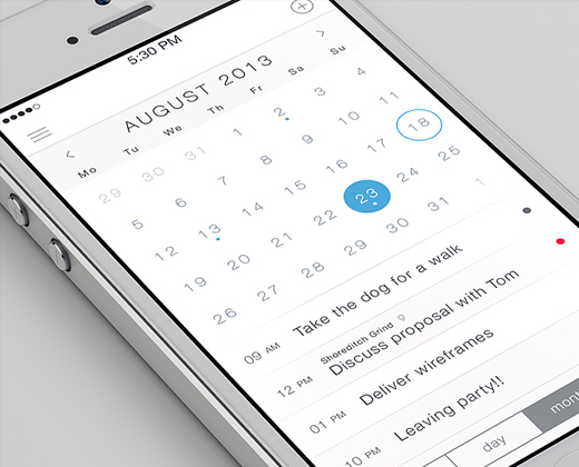 ios7 flat white simple calendar app