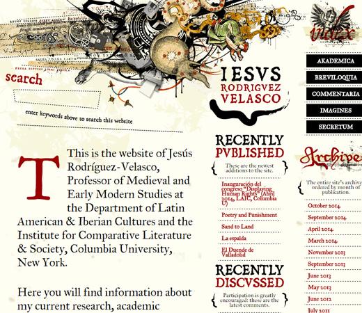 jesus rodriguez velasco homepage design