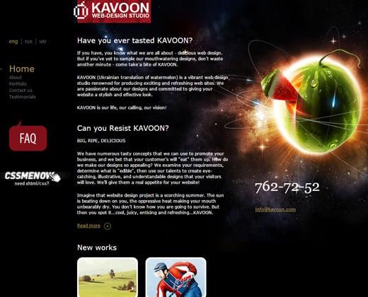 kavoon dark portfolio website layout