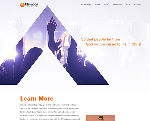 elevation church landing page website