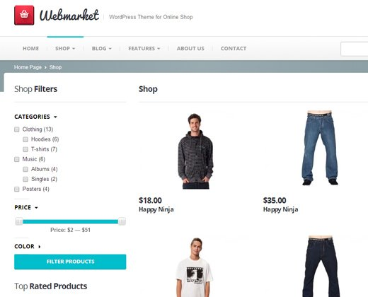webmarket online shop wordpress theme premium design