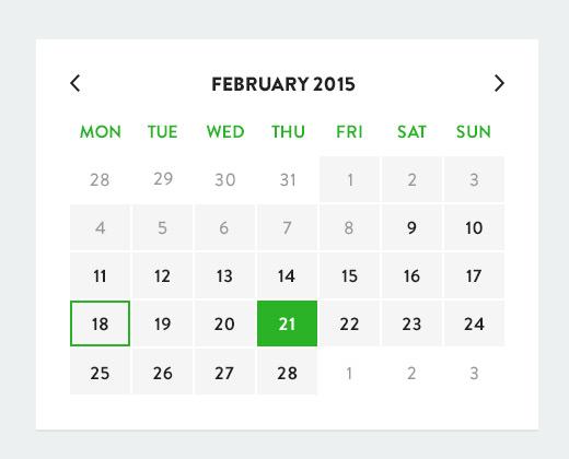 calendar ui design flat
