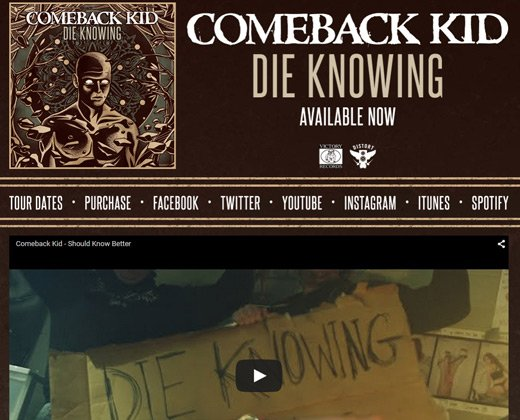 comeback kid website homepage