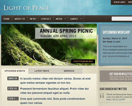 clean light of peace religious wordpress theme