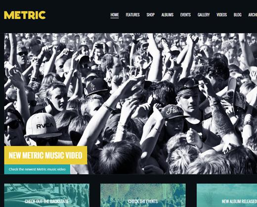 metric music band responsive wordpress theme