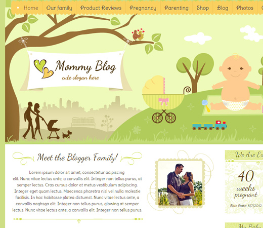 mommy blog homepage website layout