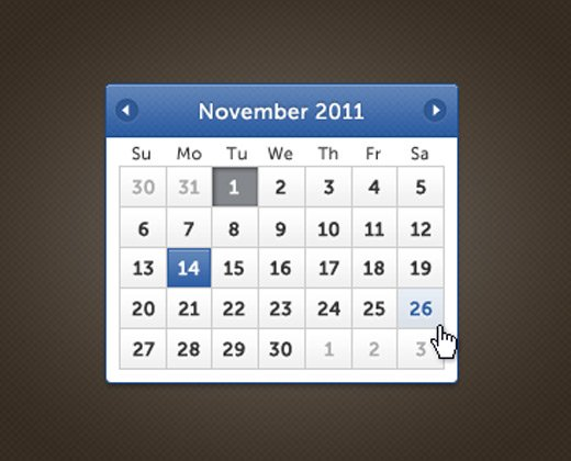 blue fine date picker ui