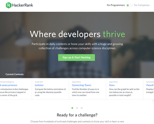 hacker rank green landing page ui