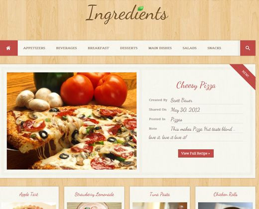 ingredients wordpress recipe design fresh theme