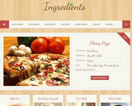 ingredients wordpress recipe design fresh theme