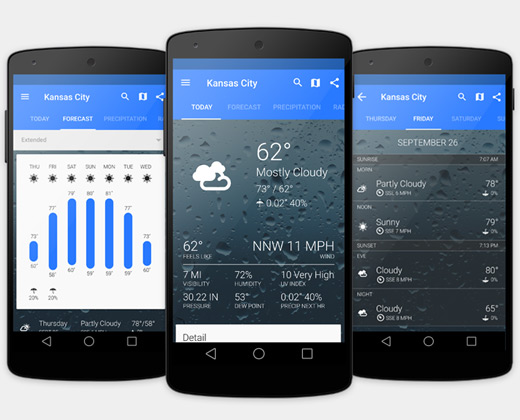 weather android app ui