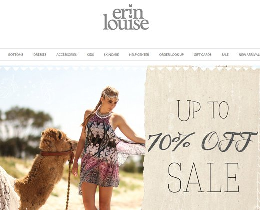 erin louise shopify website homepage