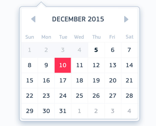 floating calendar ui design