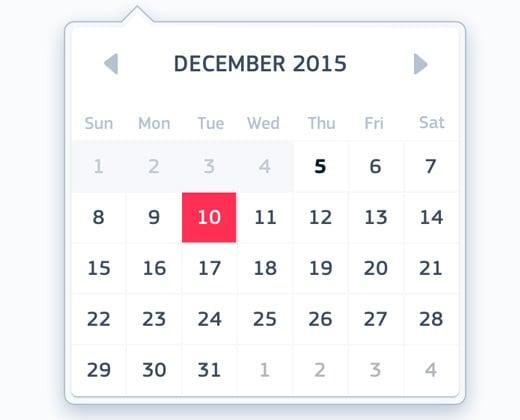 floating calendar ui design